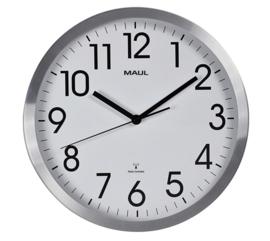 Wandklok MAUL Move RC Ø30,5x4.5cm aluminium/wit incl.batterij