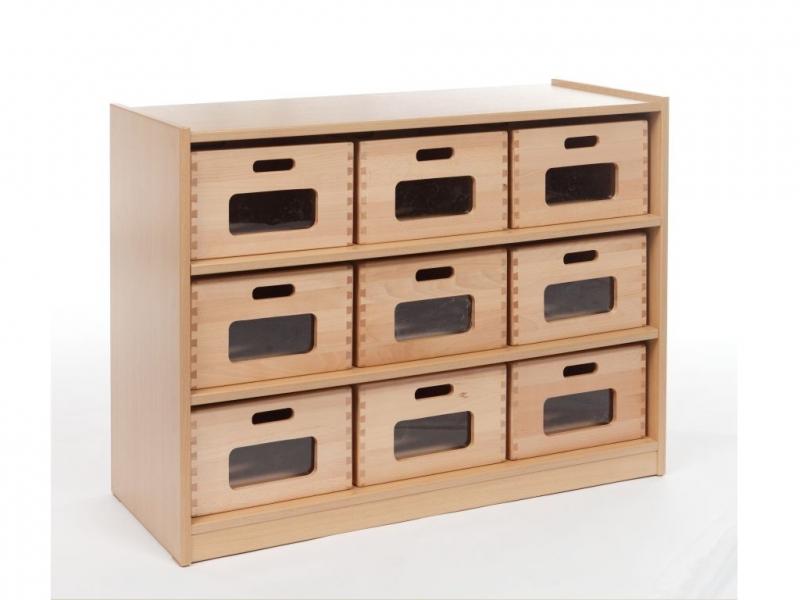 Nieuw Kast met 9 houten bakken | Kasten met bakken | Cats-educatief KH-71