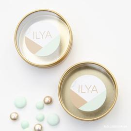 Goudfolie geboortekaartje ILYA
