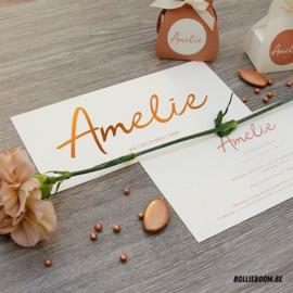 Koperfolie geboortekaartje AMELIE