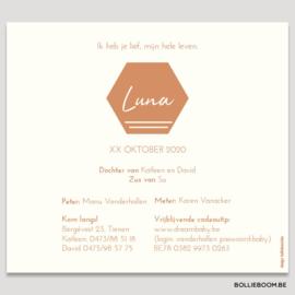 Koperfolie geboortekaartje LUNA