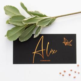 Koperfolie geboortekaartje ALIX