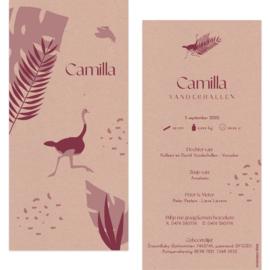 Struisvogel - eco papier |  geboortekaartje Camilla