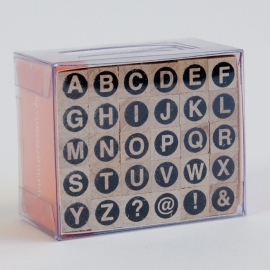 Stempelset: alfabet in kapitalen in cirkels: small