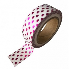 Witte masking tape met met fuchsia hartjes