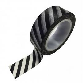 Witte masking tape met zwarte strepen