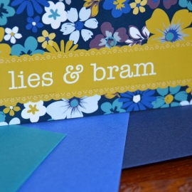 Huwelijksuitnodiging Lies & Bram