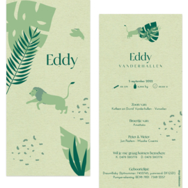 Leeuw - eco papier |  geboortekaartje Eddy