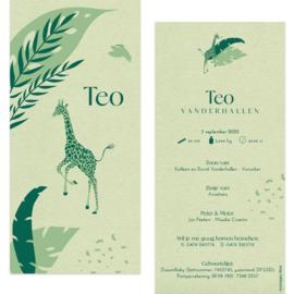 Giraf - eco papier |  geboortekaartje Teo