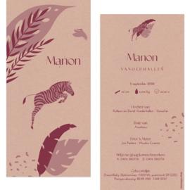 Zebra - eco papier |  geboortekaartje Manon