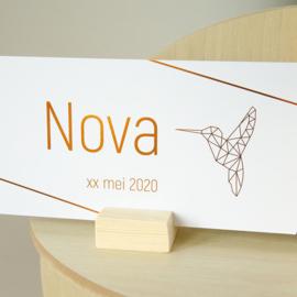 Koperfolie kolibri geboortekaartje NOVA