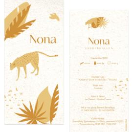 Luipaard- eco papier |  geboortekaartje Nona