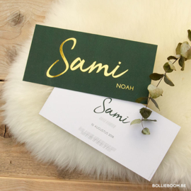 Goudfolie geboortekaartje SAMI