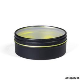 Zwart blikken doosje met transparant deksel