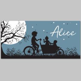 Silhouette bakfiets geboortekaartje ALICE