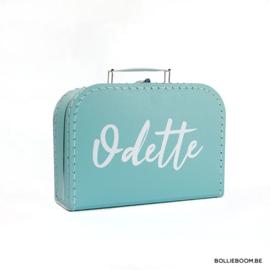 Kleine koffer met naam in kleur