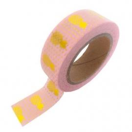 Roze masking tape met gouden ananassen