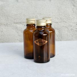 Glazen amber flesje met schroefdop
