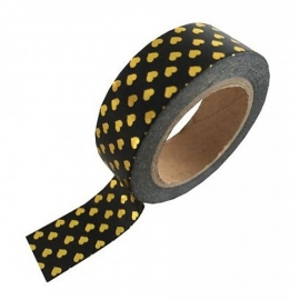 Zwarte masking tape met gouden hartjes