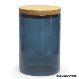 Blauwe glazen traktatiepot met kurken deksel