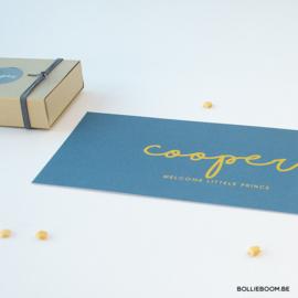 Goudfolie geboortekaartje COOPER