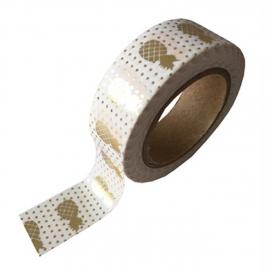 Witte masking tape met met gouden ananas