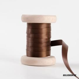Donkerbruin satijnlint 1cm (per meter)