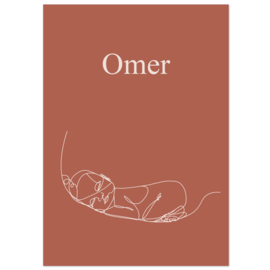 Lijntekening geboortekaartje OMER