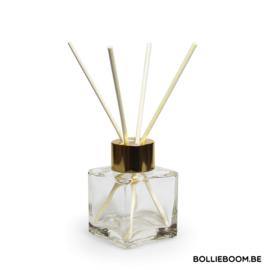 Kubus glazen flesje met gouden top