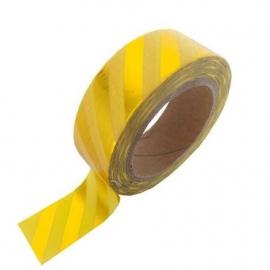 Gele masking tape met goud blinkende strepen