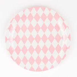 Kartonnen bordjes met roze ruiten