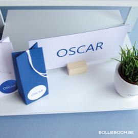 Blauwe folie geboortekaartje OSCAR op duplex papier & kleur op snee