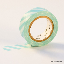 Aqua met witte strepen masking tape