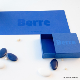 Blauwe folie geboortekaartje BERRE