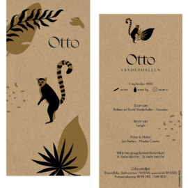Ringstaartmaki - eco papier |  geboortekaartje Otto