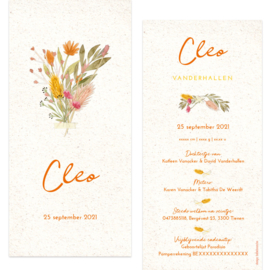Droogbloemen geboortekaartje CLEO