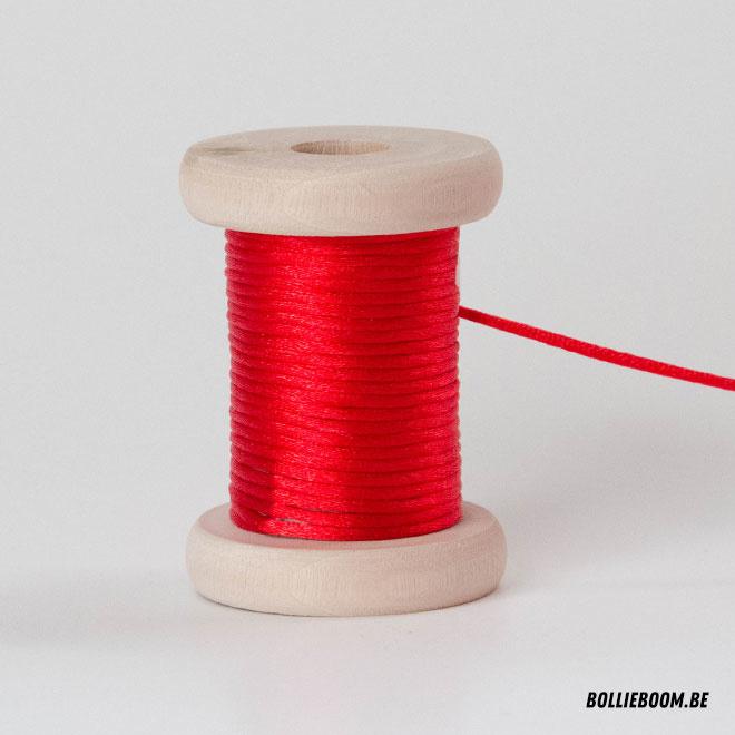 Rode satijnkoord (per meter)
