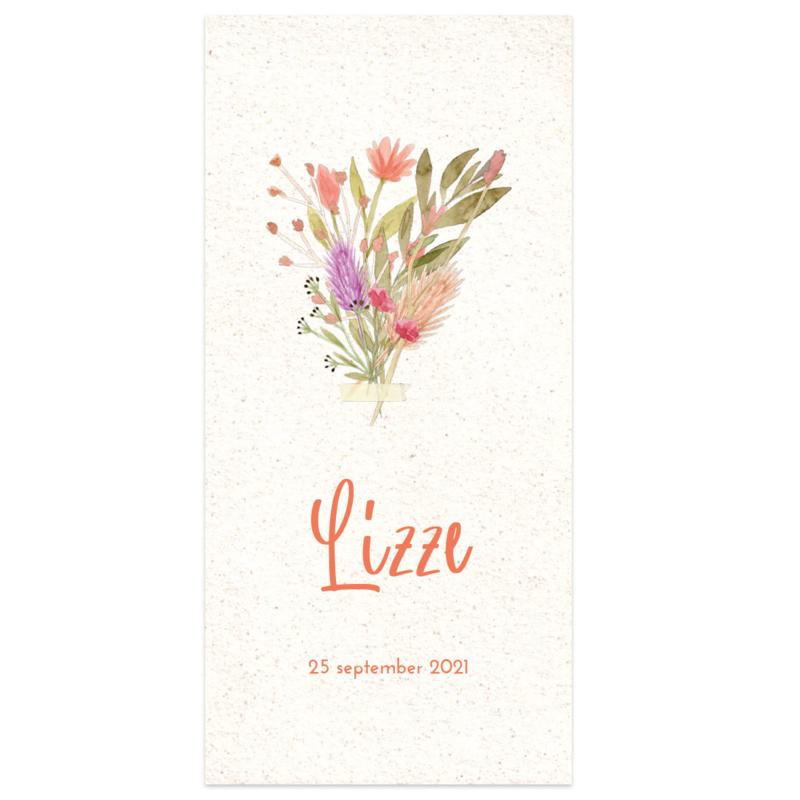 Droogbloemen geboortekaartje LIZZE
