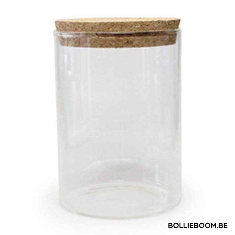 Glazen traktatiepot met kurken deksel