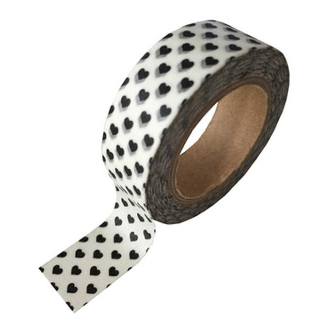 Witte masking tape met met zwarte hartjes