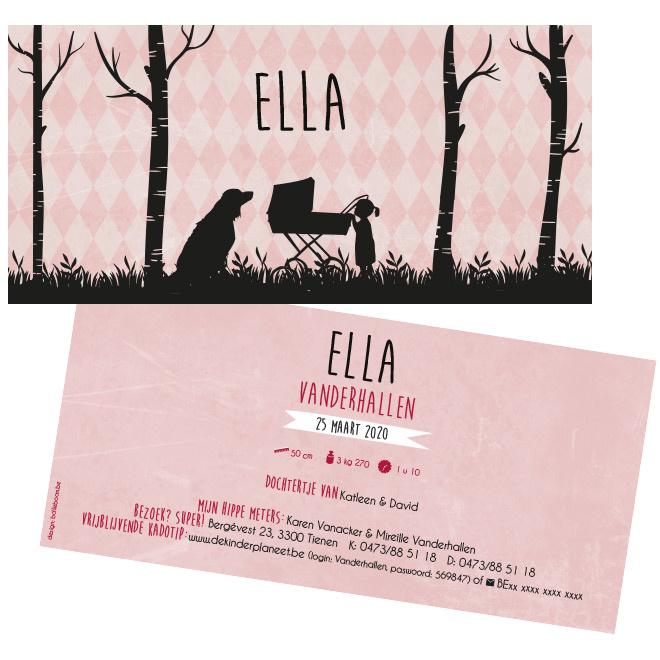 Silhouette meisje met koets en hond geboortekaartje ELLA