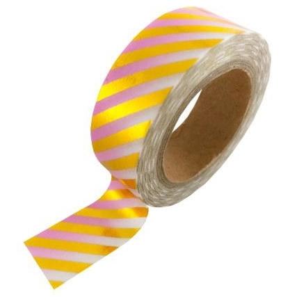 Masking tape met roze gradient met gouden strepen