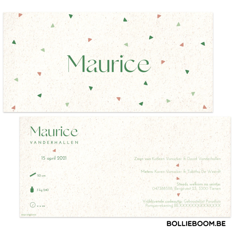Driehoekjes geboortekaartje MAURICE