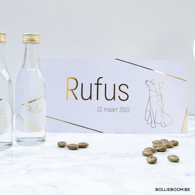 Goudfolie vos geboortekaartje RUFUS