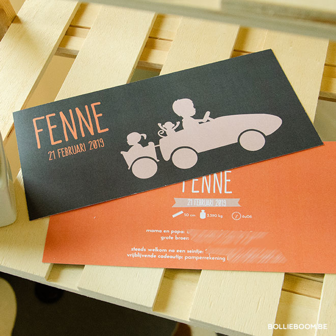 Silhouette auto geboortekaartje FENNE