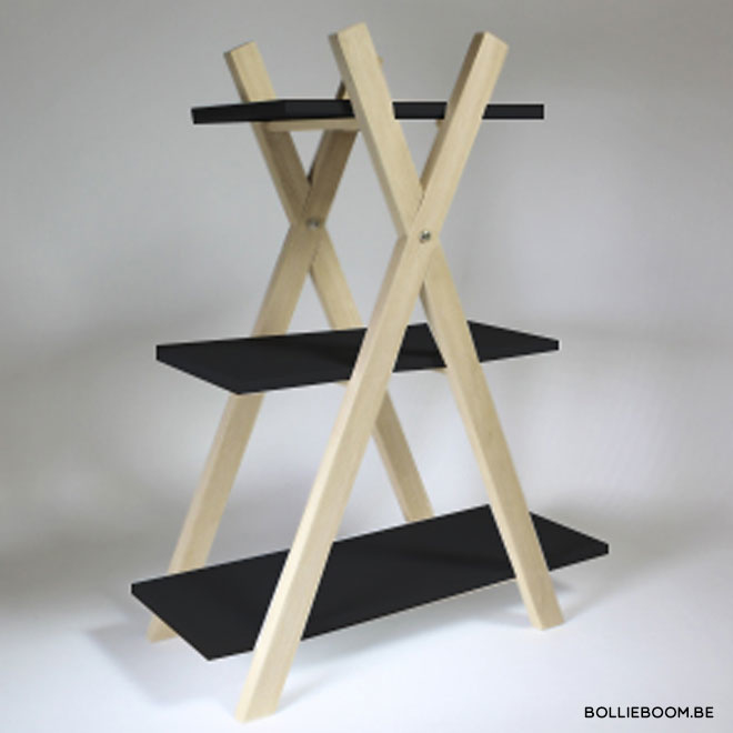 Etagere: 3 niveaus met zwarte leggers