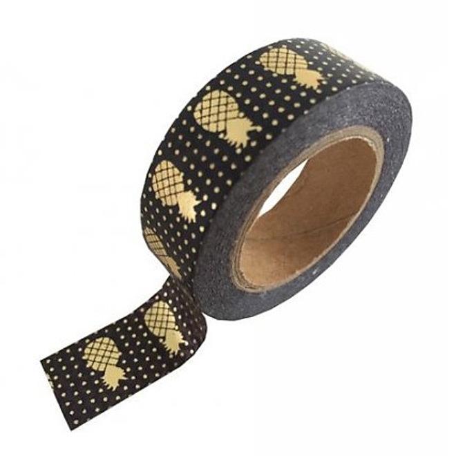 Zwarte masking tape met gouden ananassen
