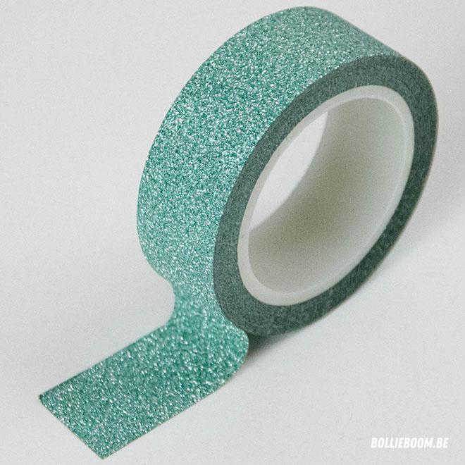 Masking tape groen glitter