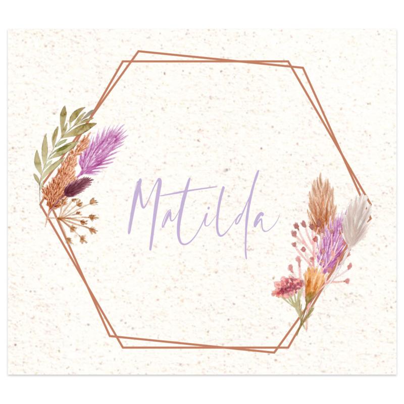 Droogbloemen geboortekaartje MATILDA