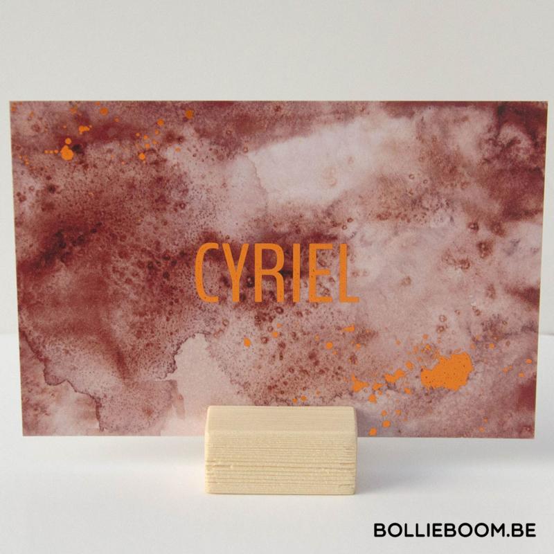 Koperfolie geboortekaartje CYRIEL